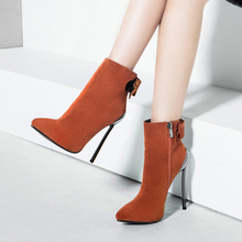 New Women Boots Super High Heels 14.5cm Ankle Kid Suede Pointed Toe Elegant Boot BT2