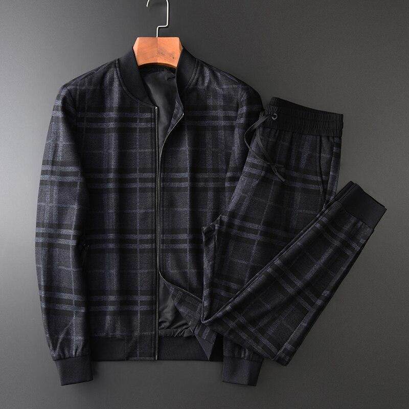 Mens Set (jackets+pants) Luxury Thick Yarn Dyed Plaid Stand Collar Men Coats Plus Size 4xl Elastic Waist Male Pants