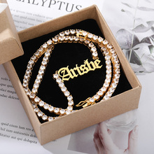 Custom White Diamond Name Necklace For Women Personalized Stainless Steel Gold Choker Cubic Zirconic Jewelry Christmas Gift Bff