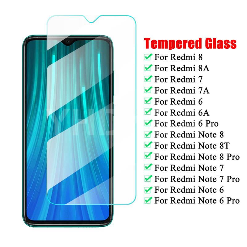 9H Tempered Glass For Xiaomi Redmi 8 8A 7 7A 6 6A K30 Screen Protector On The Redmi Note 8 8T 7 6 Pro Protective Glass Film Case