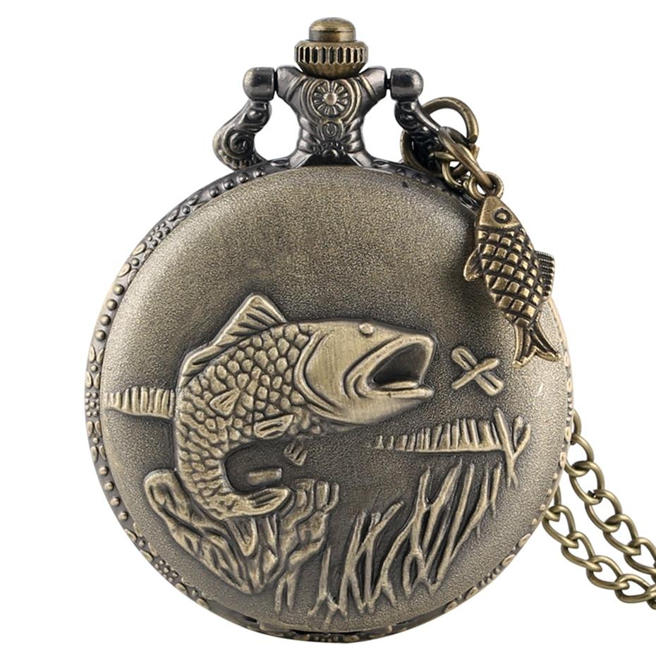 Unique Bronze Fishing Sculpture Pocket Watch Necklace Fob Chain Steampunk Clock Quartz Retro Pocket Watch Gifts + Fish Accessory