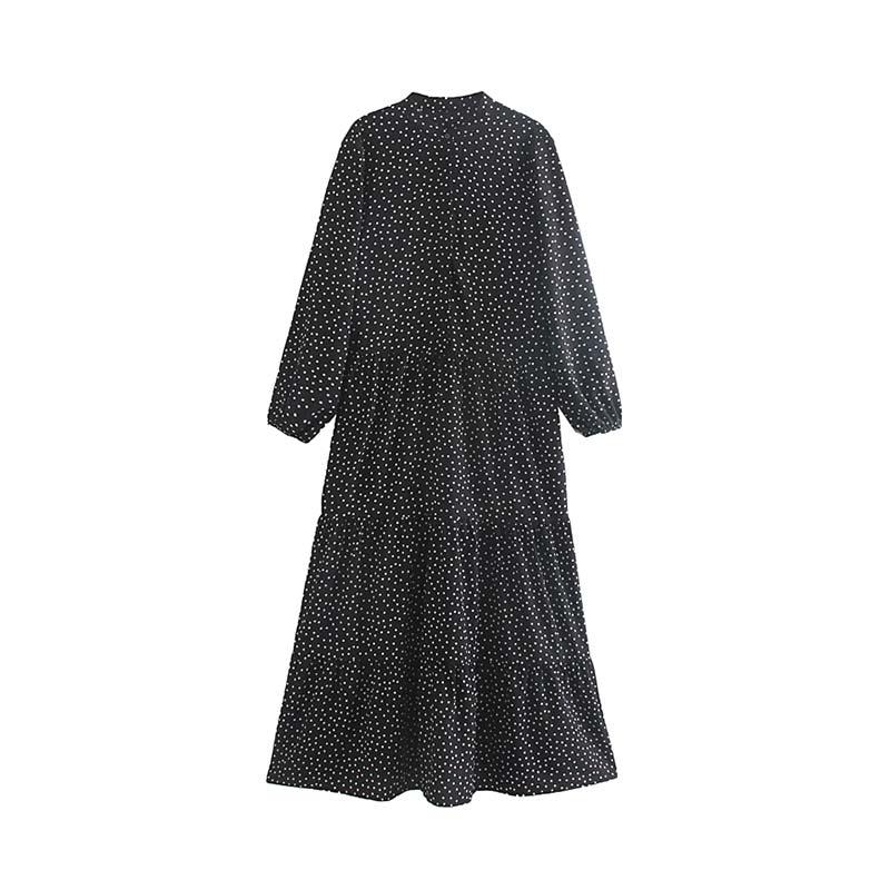 Vadim women retro polka dots black maxi dress long sleeve O neck female casual vintage ankle length dresses vestidos QC692