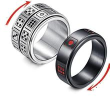 Ring Men Gothic Lucky Dice Transfer Points Titanium Steel Stainless Steel Ring Punk Anel Masculino Ring Set Luxury Rings For Men punk style titanium steel circle ring for men