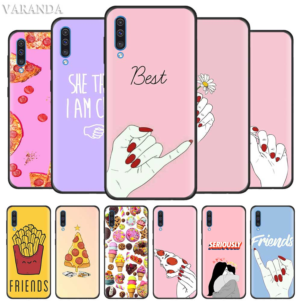 <font><b>Bff</b></font> Best Friends Pizza Food <font><b>Case</b></font> for Samsung A90 5G A50 A40 A30 S A80 A70 A10 A20 e A9 A7 A8 Plus 2018 Black Silicone Cover image