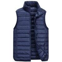 Winter 90% White Duck Down Vest Men Ultralight Sleeveless Vest Fashion Stand Collar Men Plus Size Loose Vest Jacket Men Coat