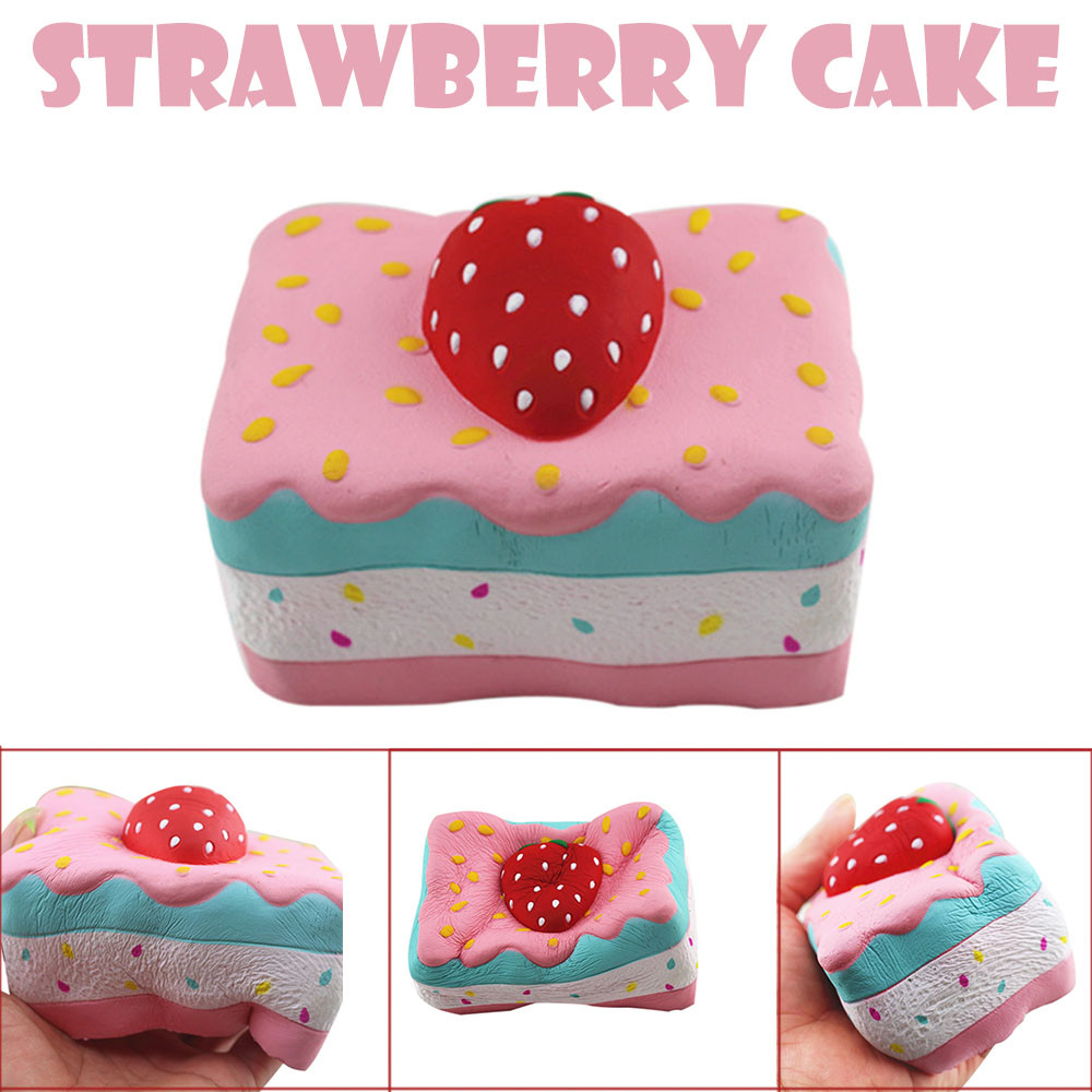 Strawberry Cake Stress Reliever  Scented Super Slow Rising Squeeze Toy Kids Toys Toys For Children Squishy Toys Christmas Gifts
