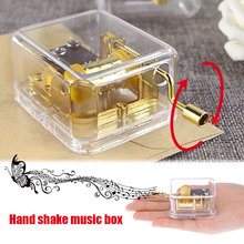 Clockwork Music Box Acrylic Music Box Classic Mini Hand Crank Decorations Birthday Kid Music Box Crafts Jolty Ornaments Gift