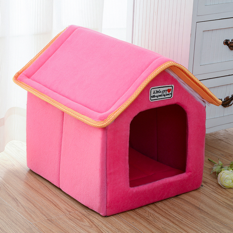 Pet House Foldable Bed With Mat Soft Winter Leopard Dog Puppy Sofa Cushion House Kennel Nest Dog Cat Bed For Small Medium Dogs 9