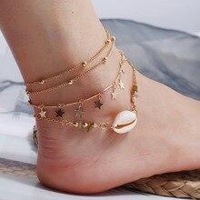 цена на New Bohemian Multilayer Shell Anklet Bracelet Set Summer Beach Pentagram Charm Anklet Ornament Vintage National Wind Gifts
