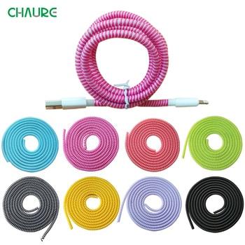 1,4 m del teléfono del Color del alambre de cuerda Protecto Anti-descanso de primavera protección cuerda para Cable de carga USB Cable de auriculares de los datos de la bobina Winder