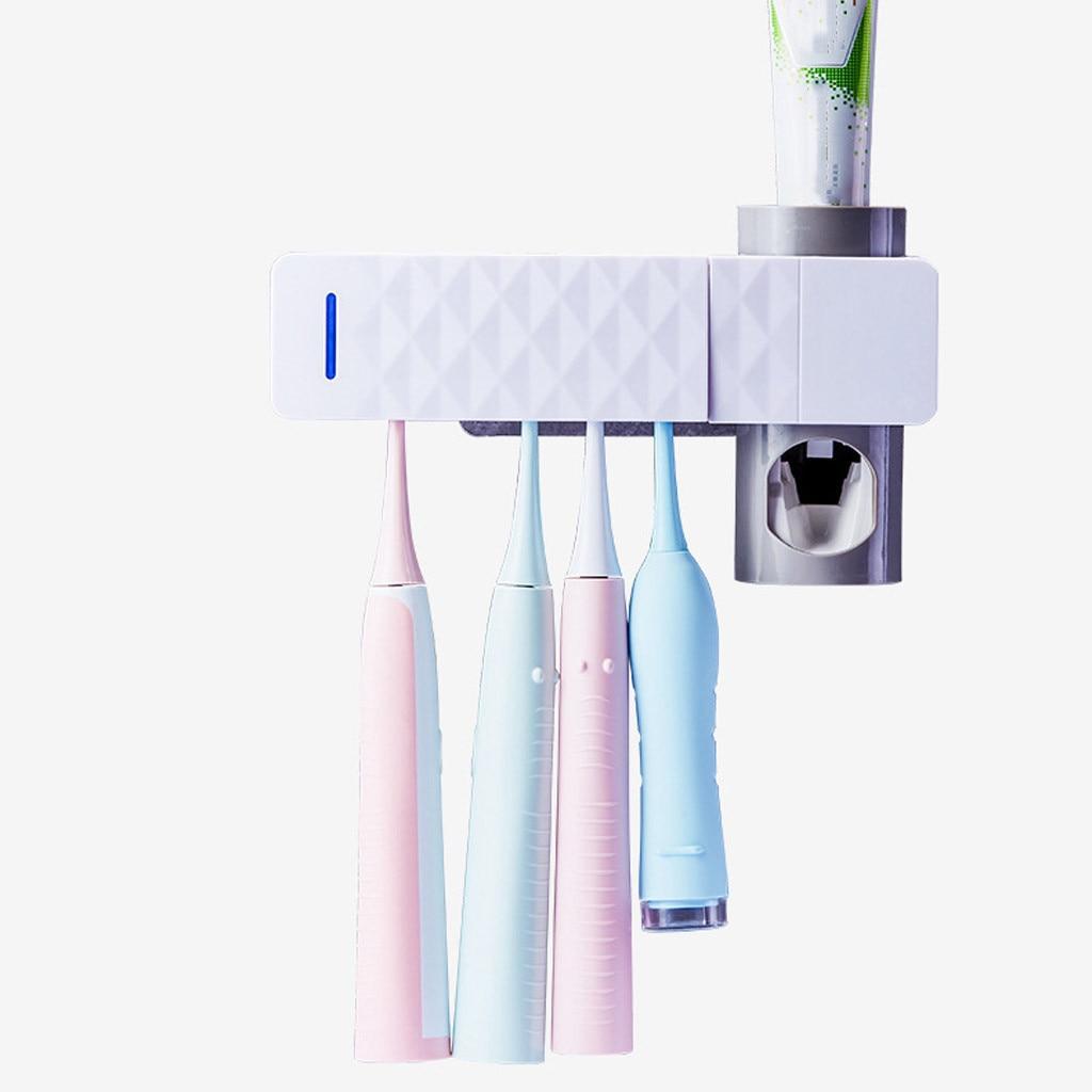 Dental  UV Toothbrush Disinfectant Cleaner Storage Rack Auto Toothpaste Squeezer
