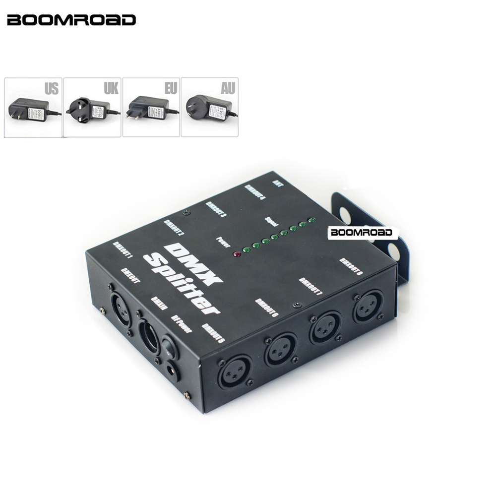 8 Way DMX Splitter Isolated 3Pin DMX 512 Optical Splitter Istribution Amplifier For DJ Disco Wedding DMX Stage Lighting Effect