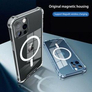 Image 1 - โปร่งใสสำหรับ iPhone 12 Pro Max 12 Mini 11Pro Max Wireless Charger โทรศัพท์แม่เหล็กสำหรับ iPhone XS Max XR XS X กรณี
