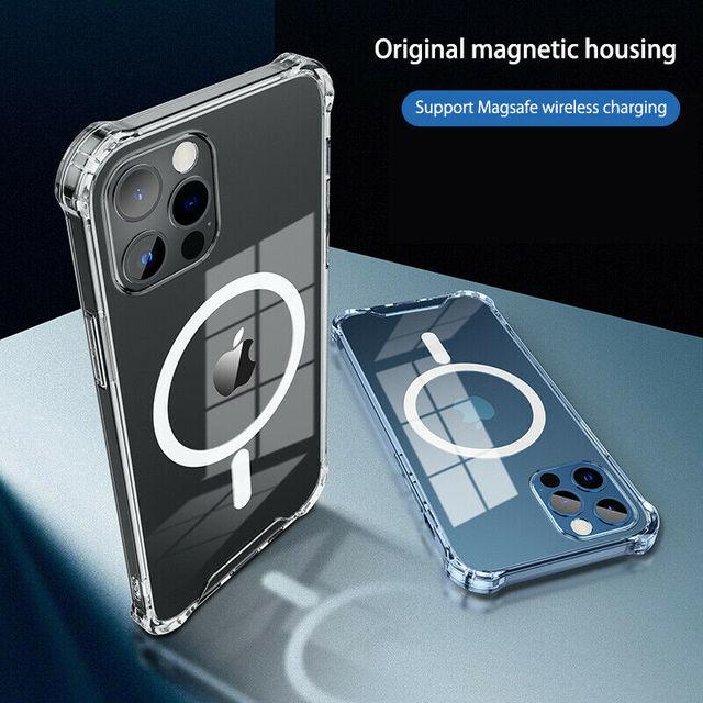 โปร่งใสสำหรับ iPhone 12 Pro Max 12 Mini 11Pro Max Wireless Charger โทรศัพท์แม่เหล็กสำหรับ iPhone XS Max XR XS X กรณี