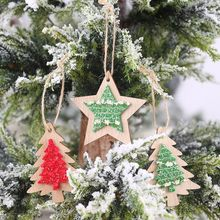 Christmas Decorations Wooden Mini Christmas Tree Star Ornaments Merry Christmas Party Home Decor 9.5(China)