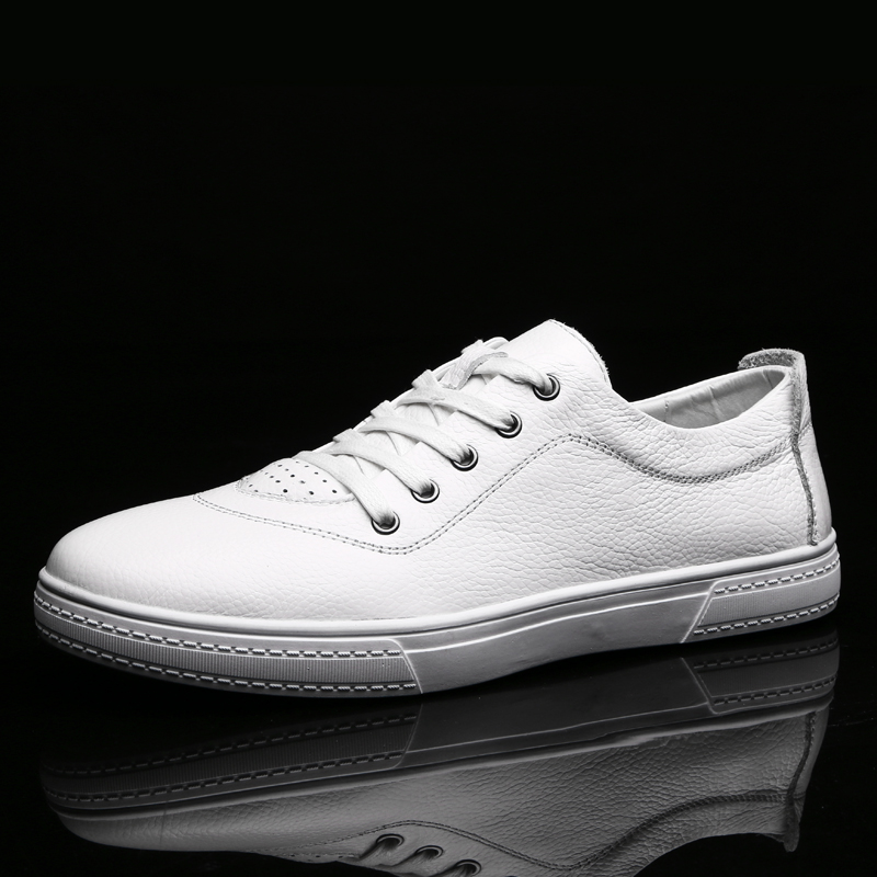 Fashion Solid Color Designer Men leather Shoes Brand New Men Casual sneaker Shoes Light Comfortable Flats Simple White Flats|Men
