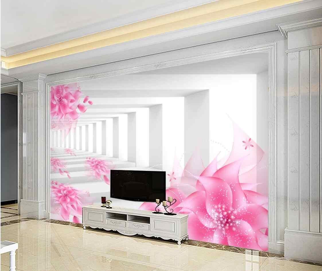 Abstrato rosa flor mural papel de parede da arte papéis de parede 3d foto papéis à prova dwaterproof água lona floral contato