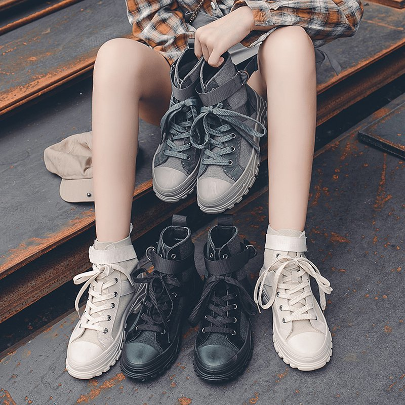 Women Sneakers Comfortable Brand Woman Canvas Shoes Lace Up High Top Vulcanized Shoes Zapatos Mujer Fashion
