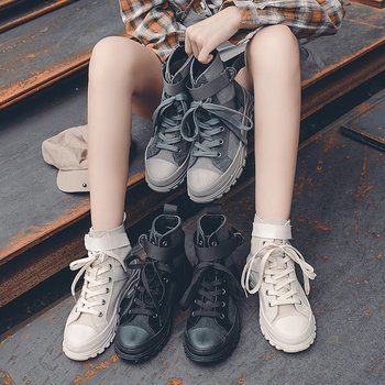 Women Sneakers Comfortable Brand Woman Canvas Shoes Lace Up High Top Vulcanized Shoes Zapatos Mujer