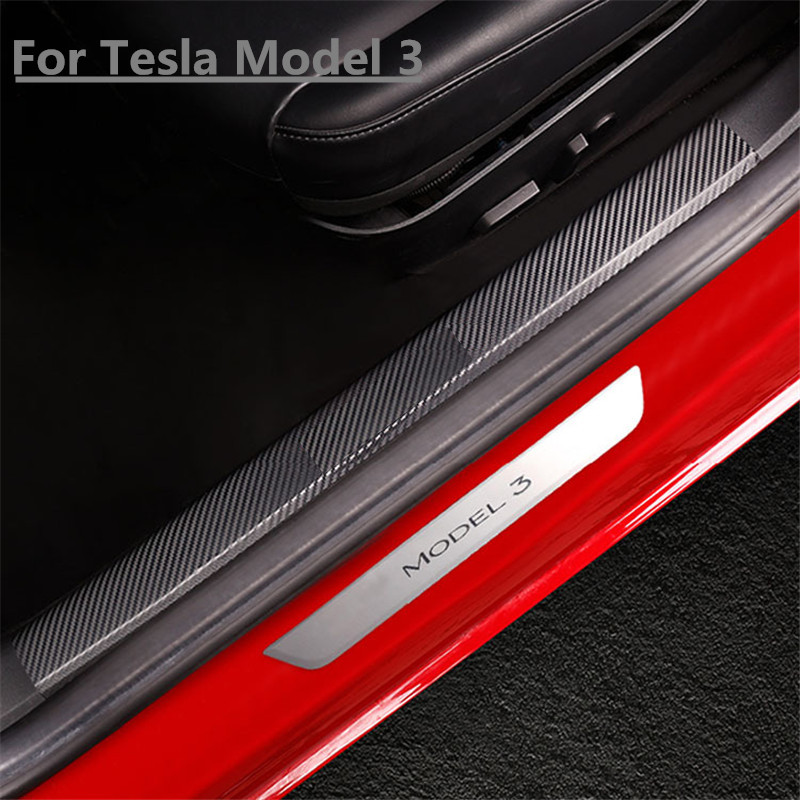 Car Styling PU Leather Carbon Fiber Style Door Sill Strip Scuff Plate For Tesla Model 3 Door Sill Protective Interior Sticker