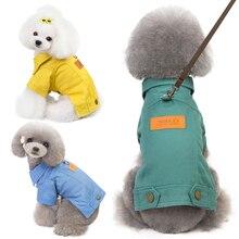 2019 Fashion Autumn Winter Dog Clothes Denim Jacket Coat Jean Harness Vest Chihuahua Poodle Pomeranian Clothing Dropship
