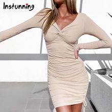 Женское облегающее мини платье instunning осеннее с v образным
