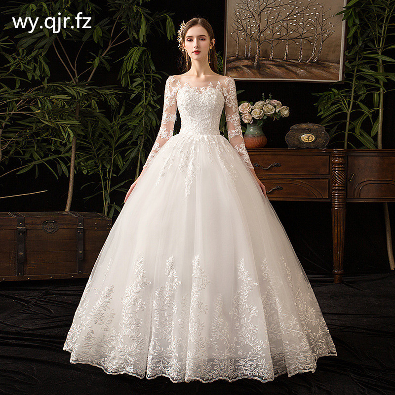 LYG-D50#Embroidered Lace on Net Wedding dress Lace up Long sleeves boat neck Bride wedding party dresses cheap wholesale girls