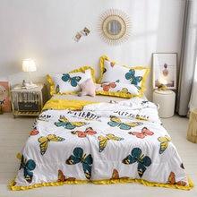Volantes de funda nórdica verano washsed de algodón manta 1pc colchas de retazos casa cubierta de cama de 200*230 mariposa bien colcha pastoral