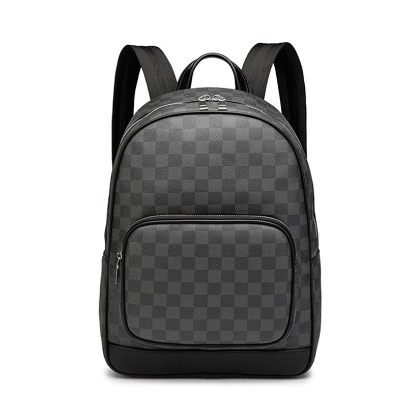 Plaid PU Leather Backpack Laptop Satchel Travel School Bags For Teenagers Large Capacity Men Daypacks Travel Backpack