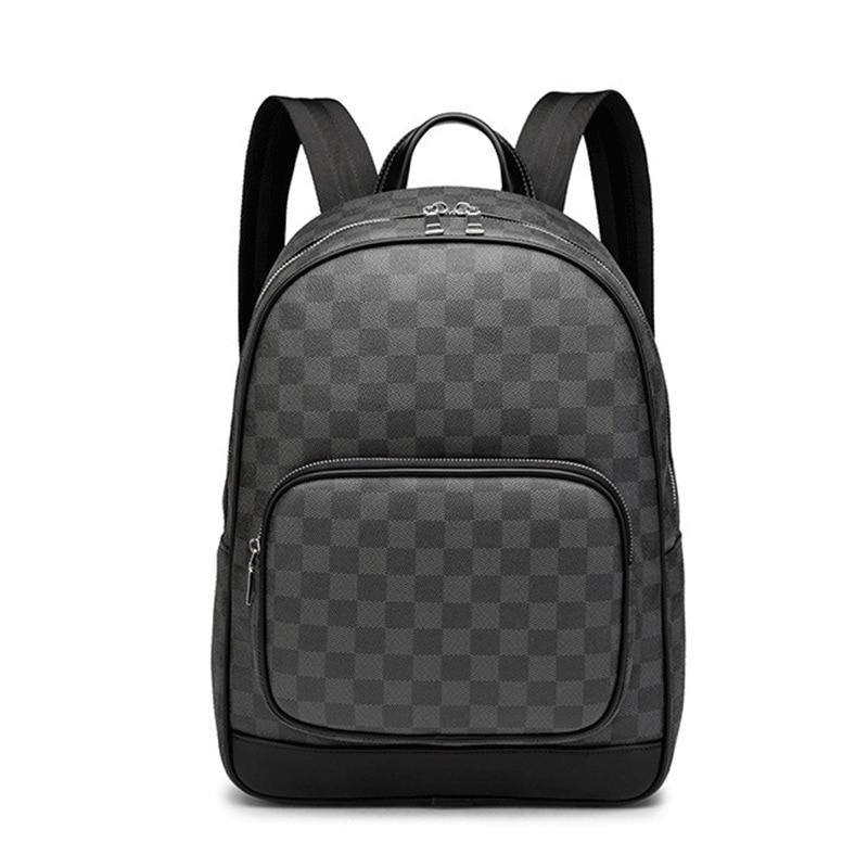 Plaid PU Leather Backpack Laptop Satchel Travel School Bags For Teenagers Large Capacity Men Daypacks Travel Backpack