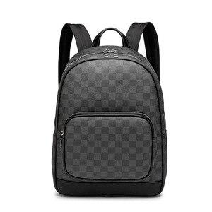 Plaid PU skórzany plecak torba na ramię na laptopa Travel School torby dla nastolatków o dużej pojemności plecak podróżny dla mężczyzn