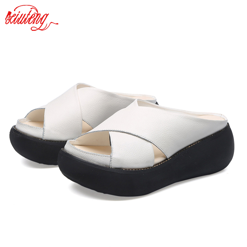 New Glglgege Women flat Slippers 2020 genuine leather female shoes High Quality casual platform Outside Open toes shoes