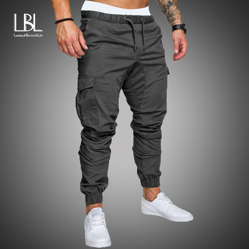 New Casual Joggers Pants Cargo Solid Color Men Cotton Elastic Long Trousers Pantalon Homme Military Army 2020 Pants Men Leggings