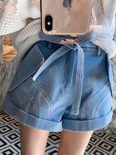 Шорты женские джинсовые с завышенной талией бантом и открытыми