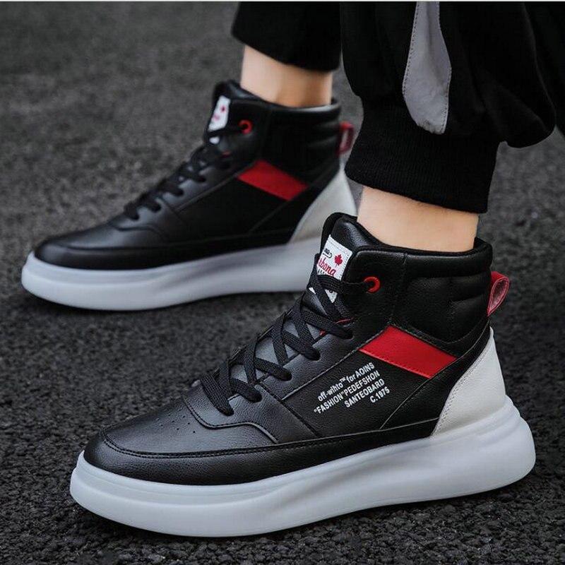 Мужские кроссовки дышащие белые туфли мужская кожаная обувь кроссовки Chaussure высокие кроссовки мужская повседневная обувь A54 44 на шнуров...