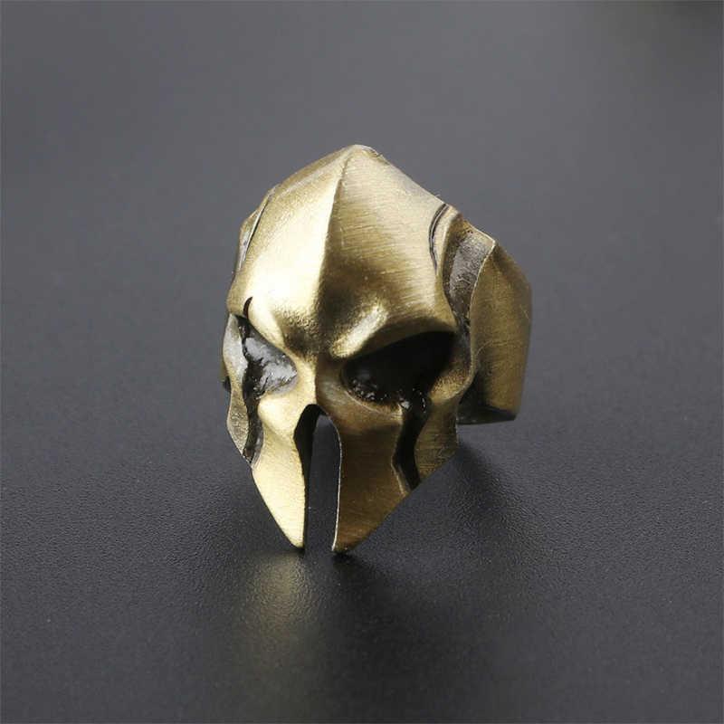 Criativo spartan herói capacete máscara anéis para mulheres masculinas personalidade retro legal biker anel jóias moda punk rock rap anéis