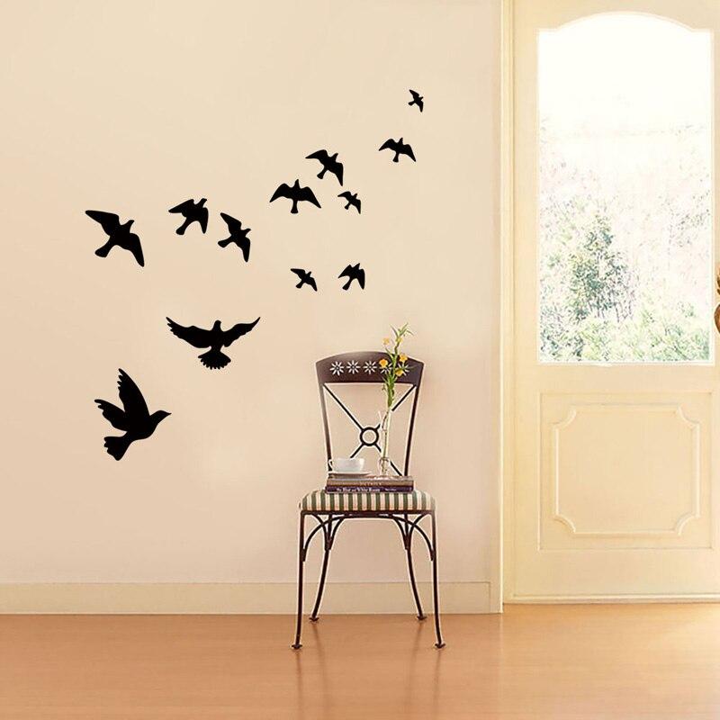 Grupo de pájaros Etiqueta de pared negra tallada PVC sala de estar sofá TV Fondo decoración Mural calcomanías arte papel tapiz