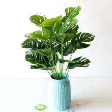 New Arrival 1 Bouquet Artificial Plastic Monstera Leaf Green Plant Home Hotel Cafe Decor cheap