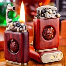 Mechero de queroseno retro de madera maciza, mechero para cigarrillo cigarro, encendedor de madera de cobre puro de alta calidad