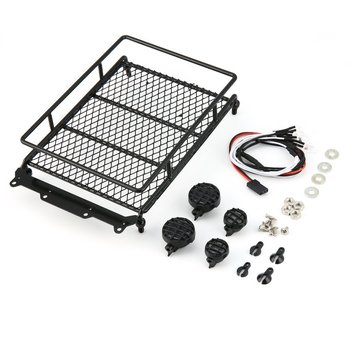 T-Power Metal Roof Rack Luggage Carrier with 4 Lights Bar for 1/10 RC Car Rock Crawler HIP CC01 AXIAL SCX10 RC4WD D90 image