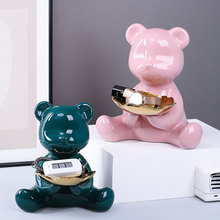 Nordic Bear Ceramic Storage Metal Tray Animal Sculpture Modern Home Decor Accessories for Living Room Office Desktop Decorations