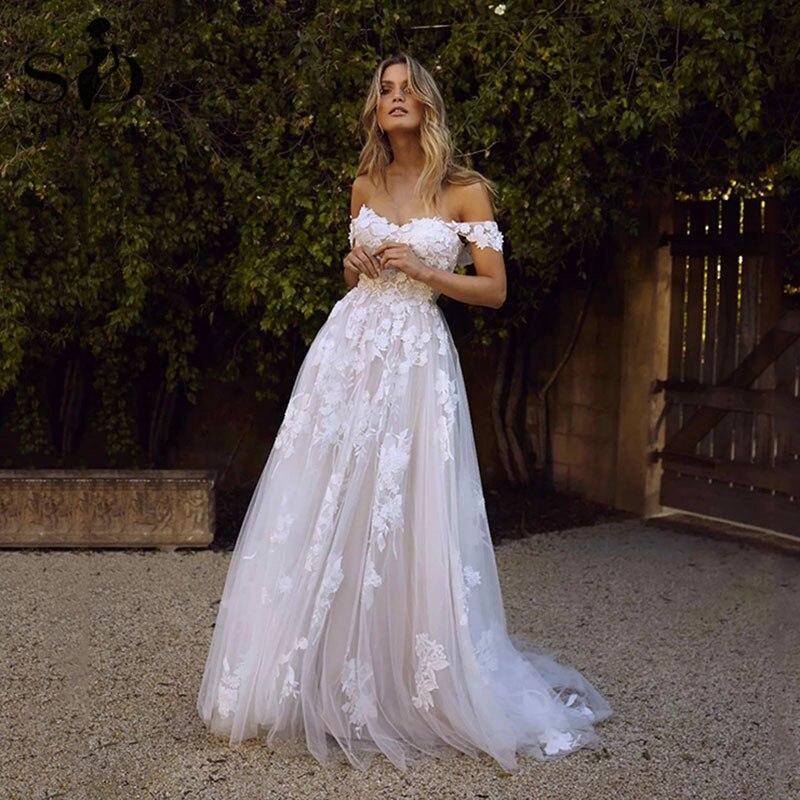 SoDigne Lace Wedding Dresses 2020 Off Shoulder Appliques A Line Boho Bride Dress Princess Wedding Gown Robe De Mariee