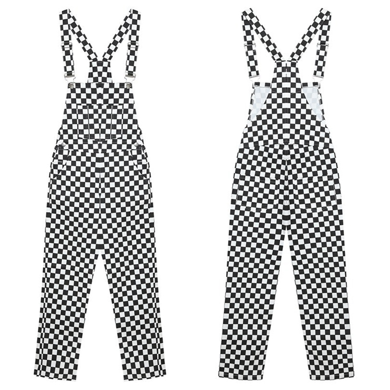 Women's Pants Bib Pants Cotton Plus Size Slim Casual Black And White Checkerboard Pockets Lattice Loose Button Fly Overalls.w