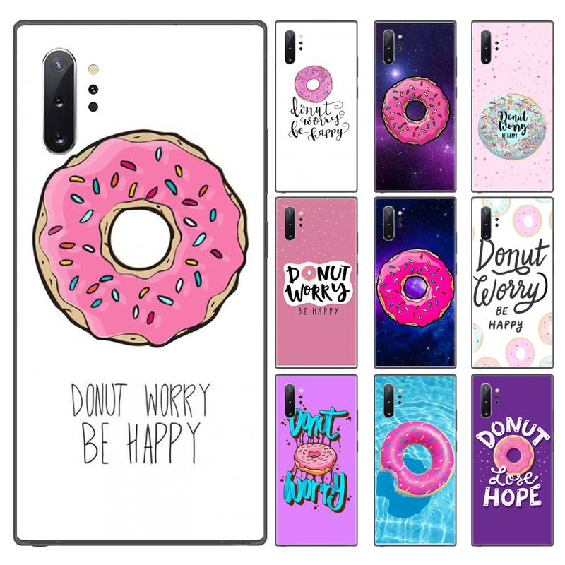 Worry Be Happy Donut rosa rosquinha doce Case Capa Do Telefone Para Samsung Galaxy S8 S9 S10 Plus Lite S10E Nota 3 4 5 6 7 8 9 10 Pro