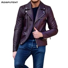 Adisputent Leather Jacket For Men Fitness Motorcycle Jacket Zipper Casual Leather Coat Male Outerwear Clothing Adisputent(China)