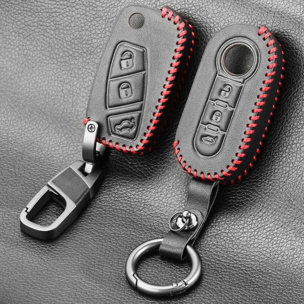 Автомобильные аксессуары кожаный чехол для ключей для FIAT 500 Panda Punto Bravo Автомобильная сигнализация 3 кнопки раскладной складной пульт дистан...