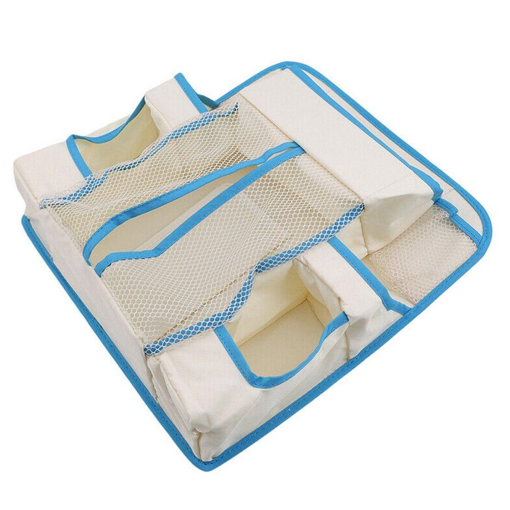 Nursery Storage Bag Hanging White Waterproof Baby Crib Durable Bedding Heavy Duty Holder Multi Pockets Diapers Organizer