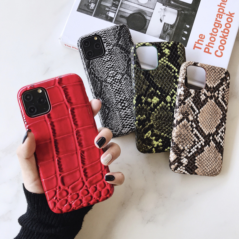 crocodile Texture soft silicone phone case For iphone 11 pro XS MAX X XR 7 8 6 6S plus Snake Skin Pu Leather cover coque Fundas