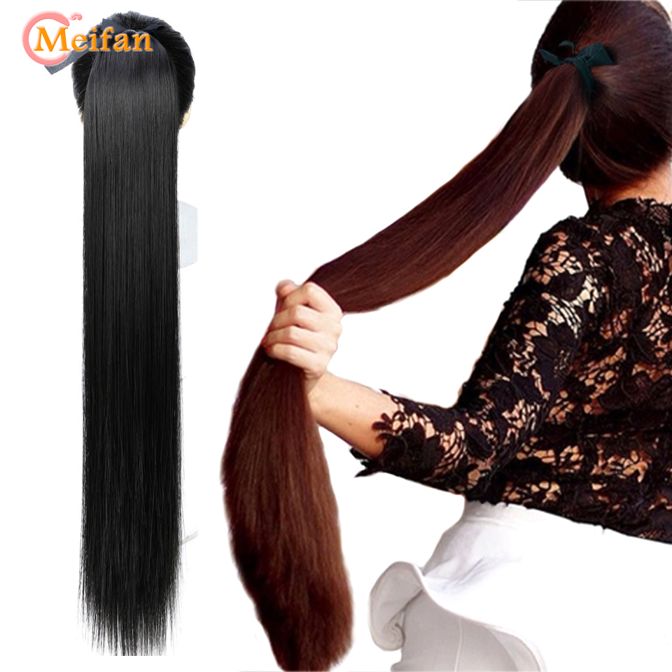 MEIFAN 5 Sizes Long Straight Ribbon Drawstring Ponytails Clip In On Ponytail Hair Extensions Synthetic Hair Pieces Accessories
