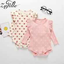 ZAFILLE Summer Newborn Infant Baby Romper Long Sleeve Baby Girl Clothes Sweet Heart Printed Kids Clothes Cotton Baby Jumpsuits zafille long sleeve baby romper printed baby boy clothes cotton newborn infant baby girl clothing kids clothes baby jumpsuits